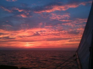 ..sunset as seen off the starboard beam of Lady Patty